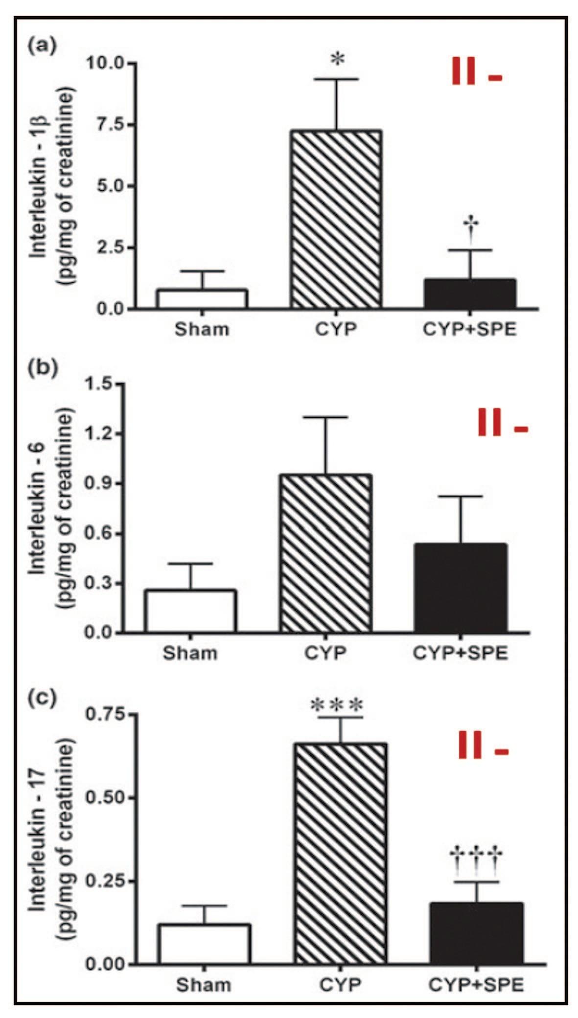Показатели IL-1β (a), IL-6 (b) и IL-17 (c) в моче у крыс, получавших плацебо, с индуцированным циститом и получавших SRE [40]